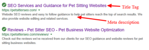 Pet Sitter SEO title tag example