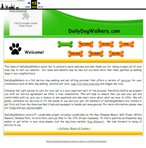Wayback Machine results for Daily Dog Walkers