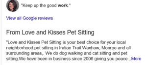 Love and Kisses Business Description Updates from Google My Business Listing